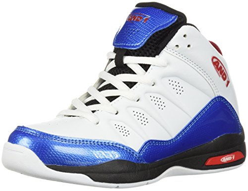 AND1 Boys' Breakout Sneaker White/French Blue/Fiery Red 7 M US Big Kid ()