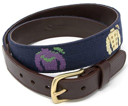 Stitched Needlepoint - Jockey Silk Needlepoint Men's Belt Hand-stitched Using Top Quality Cotton on Full Grain Leather Backing (Size 38)