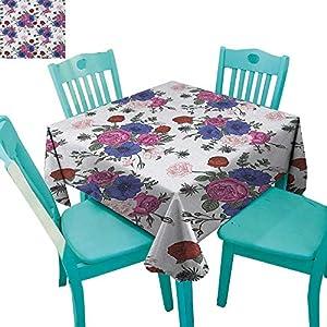 "MartinDecor Anemone Flower Dinner Picnic Table Cloth Bouquets of Roses Anemones Eustoma Colorful Corsage Bedding Plants Design 70""x70"",Suitable for Kitchen, dustproof Desktop Decoration 102"