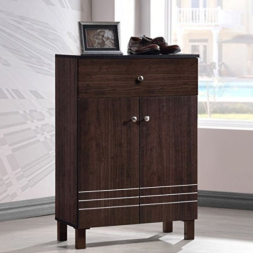 Baxton Studio Riker Contemporary Wenge Shoe Cabinet With 2 Doors And 1 (Media Storage Set Armoire)