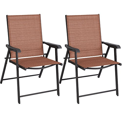 LTL Shop Set of 2 Patio Folding Sling Chairs Camping Pool Beach (Aluminium Outdoor Park Furniture)
