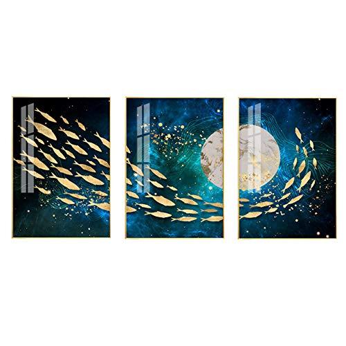 Triptico Lienzo Arte Mural 3 Piezas Natacion Creativa Luna De Peces De Colores Creativo Lienzo Pintura Al Oleo Sala De Estar Dormitorio Triptico Cuadro Moderno Colgante Imagen-C1