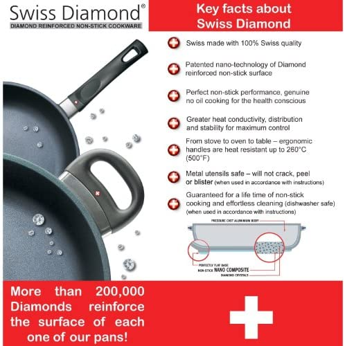Swiss Diamond 2 Piece Set Fry Pan and Grill Pan