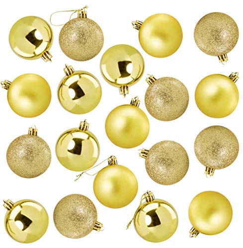 Juvale 36-Pack Christmas Tree Ornaments - Gold Shatterproof Medium Christmas Balls Decoration, Assorted 3-Finish Shiny, Matte, Glitter, Hanging Plastic Bauble Holiday Decor, 2.3 Inches