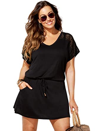 b26d7d504adb8 Swimsuits For All Women s Plus Size Swimsuit Cover Up Dress with Crochet 10  Black
