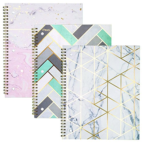 Mead Spiral Notebooks, 1 Subject, College Ruled Paper, 80 Sheets, Modern Chic, 3 Pack ()