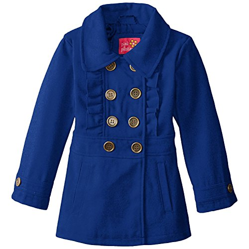 Ruffle Peacoat (Pink Platinum Little Girls' BG Faux Wool Peacoat with Ruffle, Royal, 4)