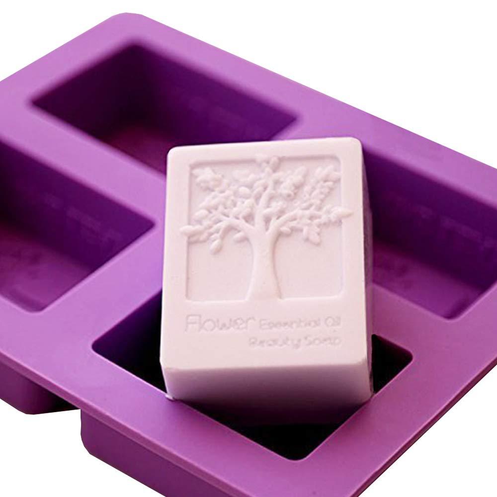 Molde de silicona para jabones de E2O Tech, con 4 cavidades, patrón rectangular con árbol de la vida: Amazon.es: Hogar