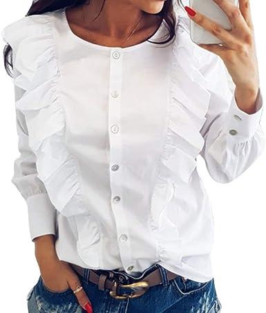 Blusas Elegante Moda Mujer Tops Primavera Chic Ropa Un Solo Pecho Rayas Verticales Manga Larga Cuello Redondo Volantes Plisado Único Blusa Moda Joven Outdoor Camisa Casuales: Amazon.es: Ropa y accesorios