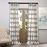 HPD HALF PRICE DRAPES Half Price Drapes PRTW-D22-96 Sorong Printed Cotton Curtain, 50 x 96, Grey