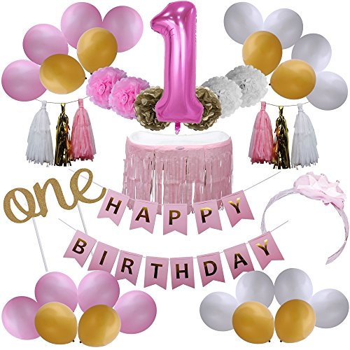 "1st Birthday Girl Decorations - ""One"" Cake Topper and Balloon - Baby Girls First Birthday Crown Headband - Pink Happy Birthday Banner - Pink and Gold Pom Pom's and Balloons (My First Birthday Cake)"