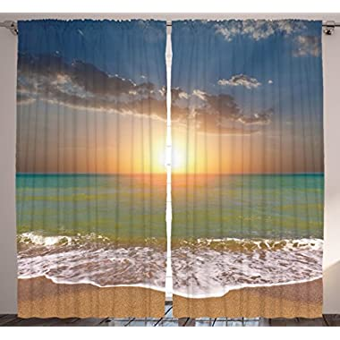 Ambesonne Home Sea Decor Collection, 108 X 84 Inches, Sunset Ocean Nautical Theme Pictures, Bedroom Living Dining Room Curtain 2 Panels Set, Blue Gray Yellow Orange Turquoise White Sand