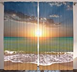 Ambesonne Sea Decor Curtains for Living Room by, 108 X 84 Inches, Sunset Ocean Nautical Theme Pictures, Home Bedroom Dining Room Curtain 2 Panels Set, Blue Gray Yellow Orange Turquoise White Sand Review