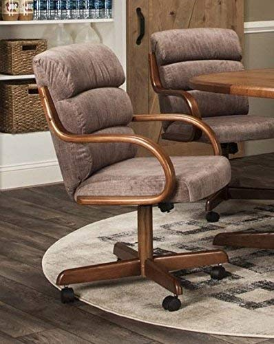 Caster Chair Company Hamilton Swivel Tilt Caster Arm Chair in Tawny Microsuede