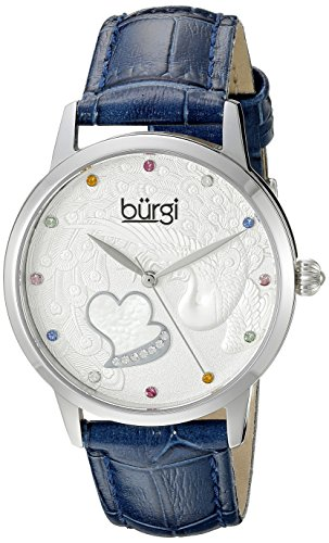 Burgi Women's BUR149BU Silver Quartz Watch With Swarovski Crystal Accented Dial and Blue Embossed Leather - Burgi Heart Womens