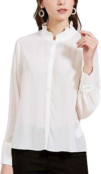 Valin V7211 - Blusa para mujer 100 % seda, cuello alto, manga ...