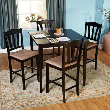 Metropolitan 10125BLK Counter Height 5-Piece Dining Set, 1 Table & 4 Chairs, MDF, Rubberwood, Microfiber & Foam Construction, Black Color