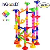 Ingooood Marble Run Toy 105 Pcs Marble Game STEM Learning Toy, Educational Construction Building Blocks Toy, Marble Set Gift for Kids 4 5 6 + Year Old Boys Girls