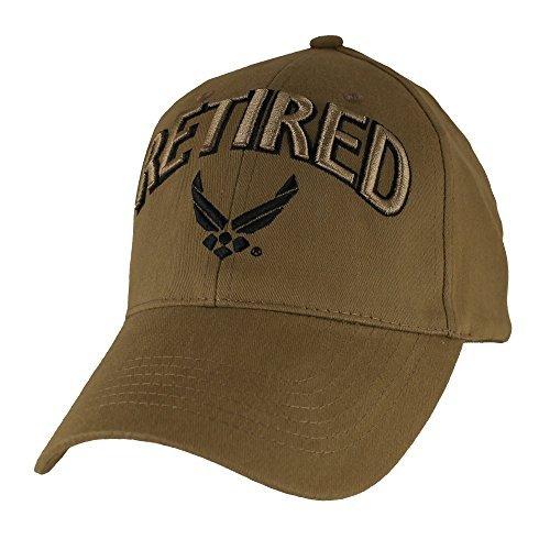 Force Insignia Air Cap (U.S. Air Force Retired Baseball Hat, Coyote Brown)