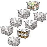 mDesign Metal Kitchen Pantry Food Storage Organizer Basket - Farmhouse Grid Design with Open Front for Cabinets, Cupboards, Shelves - Holds Potatoes, Onions, Fruit - 12' Wide, 8 Pack - Bronze