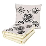 iPrint Quilt Dual-Use Pillow Compass A Set of Highly Detailed Five Windroses Angles Directions Navigation in The Sea Decorative Multifunctional Air-Conditioning Quilt Black White