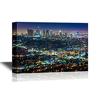 Grand Creative Design, USA City Skyline Downtown Los Angeles Skyline at Night from Griffith Observatory California, With a Professional Touch