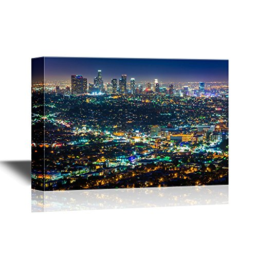 Halloween City Los Angeles (wall26 - USA City Skyline Canvas Wall Art - Downtown Los Angeles Skyline at Night, from Griffith Observatory, California - Gallery Wrap Modern Home Decor | Ready to Hang -)