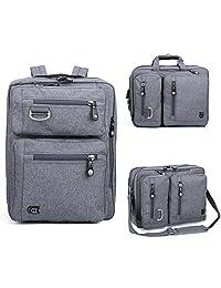 """17.3"""" Laptop Backpack Messenger Bag - Evecase Professional Backpack Carrying Messenger Shoulder Case Bag Fits Up to 17.3 inch Laptop Chromebook Macbook - Gray"""