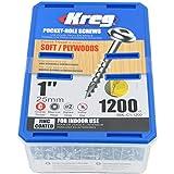 Kreg SML-C1-1200 1'' Washer Head Coarse Thread Number 8 Zinc Coated Pocket Hole Screws (1200 Count)