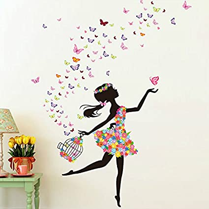 Alrens 51 x 68 inch butterfly diy wall sticker decor fairy flower girl wall decal art