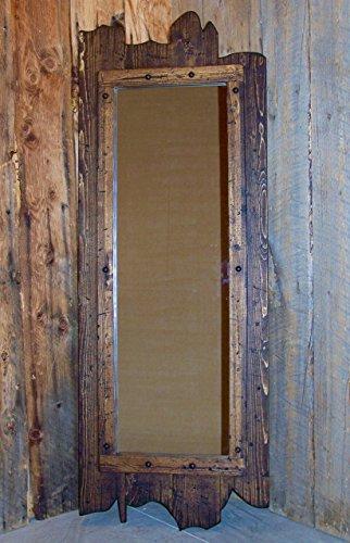 (Dark walnut rustic western distressed full-length barn wood wall mirror)