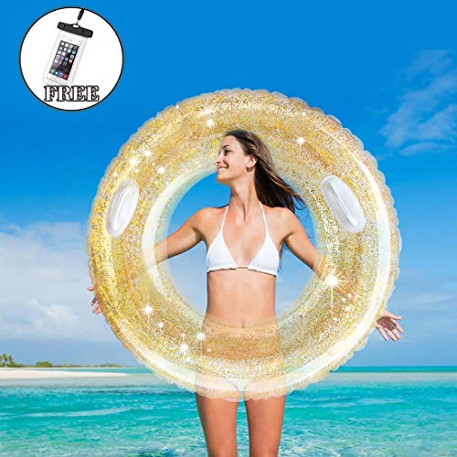 (NINESUN Swim Tube with Gold Confetti, Inner Tube Pool Tube for Adult, Swim Ring for Pool Party)