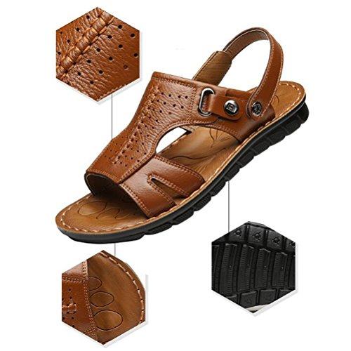 Stagione estiva sandali da SSYY sportivo Sandali Scarpe spiaggia slittata Open Fondo vera all'aperto morbido sandali toe brown uomo pelle 4xRRAw