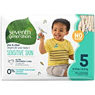 Seventh Generation Baby Diapers, Free and Clear for Sensitive Skin, Original No Designs, Size 5, 115