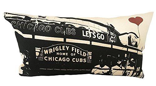 Chicago Cubs Wrigley Field Rectangular Cotton Canvas Throw Pillow (Field Cotton Throw)