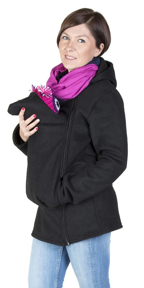 FUN2BEMUM Maternity Warm Polar Fleece, Hoodie/Pullover for Two/for Baby Carriers Black (M - US8)