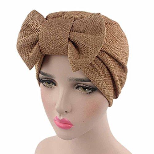 Fabal Women Bow Cancer Chemo Hat Beanie Scarf Turban Head Wrap Cap (Khaki)