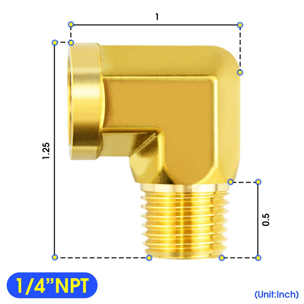 Tailonz Pneumaitc Elbow Metals Brass Pipe Fitting 1//4 Inch Male Pipe x 1//4 Inch Female Pipe Adapte(5Pack)