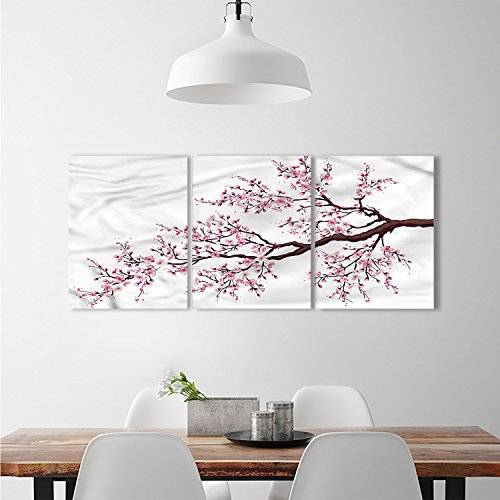 Flourishing Blossoms - djidliyz8 Japanese wall art stickers Branch of a Flourishing Sakura Tree Flowers Cherry Blossoms Spring Theme Artcustomizable wall stickers Pink Dark Brown