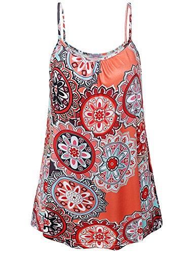 Misswor Spaghetti Strap Tank Top for Women, Womens Boat Neck Fowly Swing Tunic Spaghetti Strap Tank Tops A Line Casual Summer Flared Tunic Camisoles Fashion Clothes Floral Orange L ()