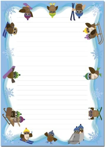 Schreibblock Eulen beim Wintersport 25 Blatt Format DIN A4 7030