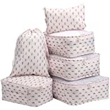 LANGRIA Foldable Packing Cubes Set for Travel Luggage Suitcase Bag Organizers for Underwear Shirts Trousers Shoes Toiletry for Business Trips Backpackers Women and Girls (6 Pc, Cactus Design, Pink)