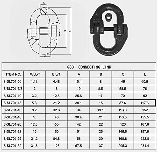 Ford Dodge Chevy Towing Hitch Safety Chain Connector Link 13mm(1/2''), 5.3t (11600 Lbs) Loading. (Set of 2)