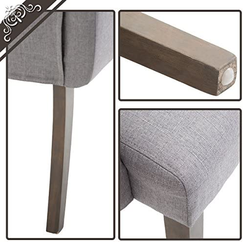 Fabric Tufted Dining Chair Dining Side Chair Accent Chair with Armrest and Solid Wood Legs Grey,1 Pcs
