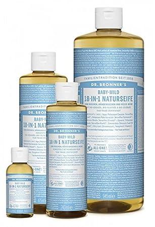 Dr. Bronner´s Naturseife Baby-mild (ohne Duft) 18-in-1 Magic Soap natürliche Flüssigseife aus biologischem Anbau, vegan, keine Zusatzstoffe, Fair Trade zertifizierte Bioseife (1x60ml) Dr. Bronner' s