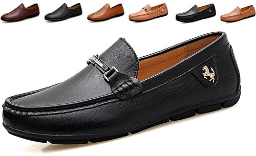 Go Tour Men's Casual Leather Fashion Slip-on Loafers Shoes Black D 9.5/44