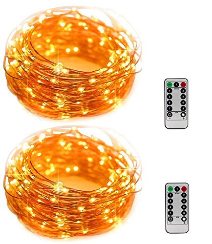 Led Fairy Lights String 2 PACK 16.5 ft of Flash Twinkling 50 leds Battery Operated Waterproof Copper Remote for Thanksgiving Christmas Tree Wedding Party Bedroom Twinkle Decoration Outdoor Indoor 16.4