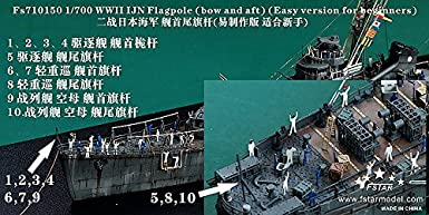 Bow and Aft Five Star Model 1//700 #710150 WWII IJN Flagpole