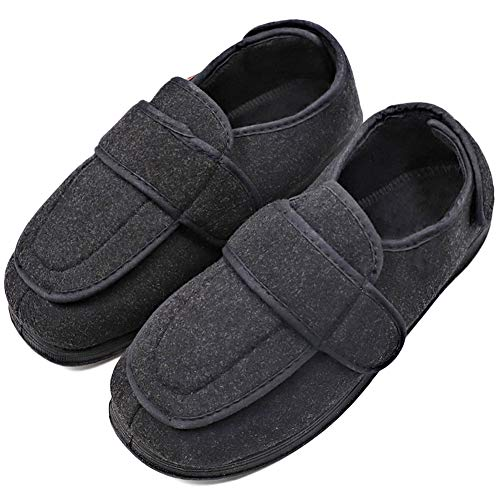 MEJORMEN Mens Diabetic Slippers Extra Wide with Adjustable Closures Edema Orthopedic Shoes Arthritis Swollen Feet House Footwear (Best Shoes For Gout)