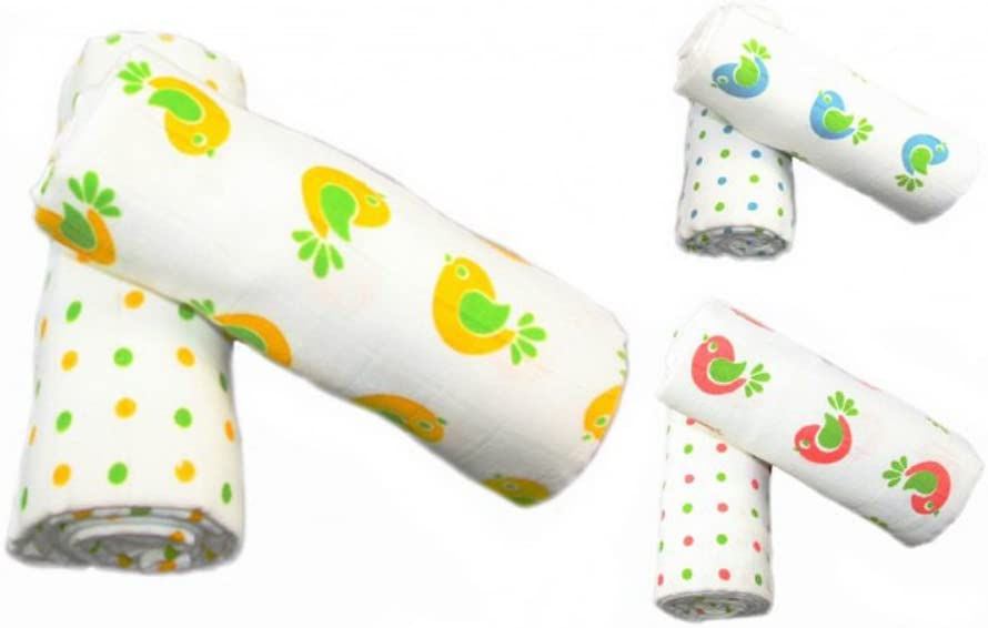 Yellow Bird /& Spots Design Muslinz Extra Large Premium Muslin Squares//Swaddle Wraps 100/% Cotton Supersoft Very High Quality 2 Pack